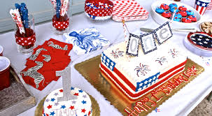 a red white and blue 1st birthday party shining on design