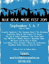 Start the weekend with a concert on the green at 4pm on saturday. Blue Bear Mountain Music Festival To Feature Legendary Jamgrassers Acoustic Syndicate From September 5 To 7 High Country Press