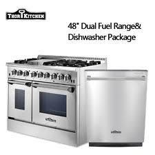 kitchenaid 48 range. 48 dual fuel range and 24\u0027\u0027 dishwasher package stainless steel thor kitchen kitchenaid