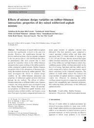 Bitumen Sand Mix Design Pdf Effects Of Mixture Design Variables On Rubber Bitumen