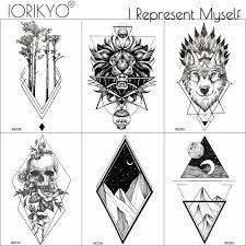 Iorikyo Water Transfer геометрические льва татуировки наклейки мужчины рука черепа