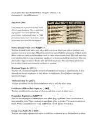 History Apartheid Laws