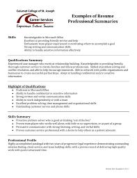 Examples Of Resume Professional Summaries