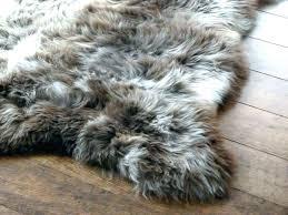 gray faux fur rug large rugs skin soft dark grey