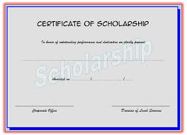 scholarship award certificate templates certificate of scholarship 4 the best template collection
