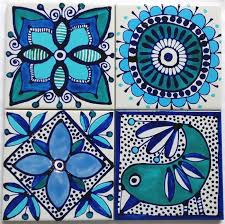 hand painted ceramic tile coasters
