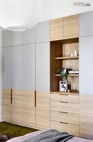 Dual Colour Wardrobe Designs Add A Dual Tone Look Of Classic Veneer And Wooden Texture To