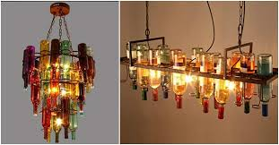 diy bottle chandelier lighting fixture