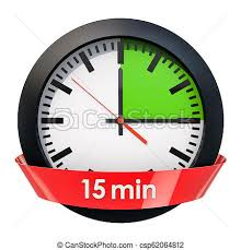 15 Min Timer Clock Face With 15 Minutes Timer 3d Rendering