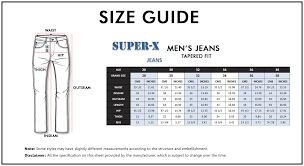 Inseam Vs Outseam Chart Super X Mens Tapered Fit Stretchable Cotton Jeans Black