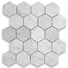 italian white carrara 3 hexagon polished mosaic tile for bathroom kitchen and floor