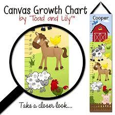 Farm Growth Chart Canvas Growth Chart Farm Animals Cow Horse Sheep Pig Rooster