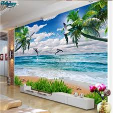 beibehang large custom wallpapers hd play water dolphin beautiful beach background wall decorative paintings