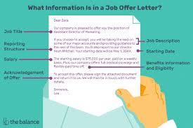 what is included in a job offer letter