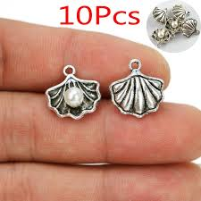 details about 10pcs tibetan silver antiqued pearl in shell conch charms pendants jewerly diy