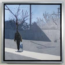 walking figure in a silver floater frame framesframepicture frames