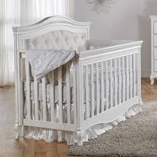 pali diamante collection forever crib in vintage white with beige fabric panel