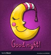 cartoon half moon good night vector image