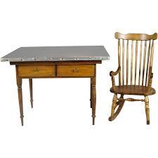 Kitchen Work Table Wood Dollhouse Miniature Wood Kitchen Work Table W Metal Top Windsor