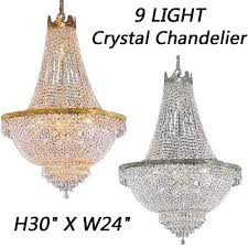 led 9 light french empire crystal chandelier chandeliers h30 x w24 be
