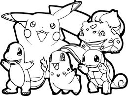 Un Coloriage Simple De Pikachu Et De Ses Amis Avec Des Traits