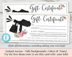 gift certificate for business gift certificate template etsy