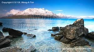 lake wakatipu and cecil peak in spring in queenstown new zealand