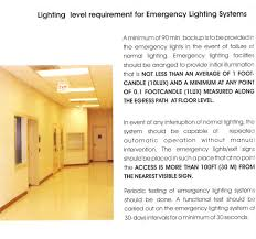 lighting level requirement for emergency lighting systems