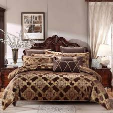 gold coffee color cotton stain bedding set king queen size 4 6 luxury royal bed duvet cover set bed linen pillow shams king size duvet cover sets duvet