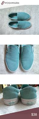 Tiffany Blue Slip On Vans Perforated suede blue Vans. Worn a handful of  times.