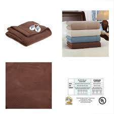luxury micro fleece electric heated warming blanket king size chocolate