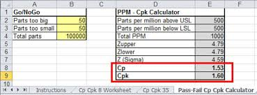 Cpk Chart Excel Template Free Calculating Cp Cpk In Excel For Go Nogo And Pass Fail Gages
