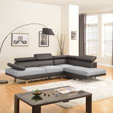 com modern contemporary designed two tone microfiber and bonded leather sectional sofa white grey black grey kitchen dining