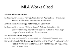 mla works cited a book one author last first title  1 mla works cited