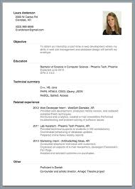 Resume Format For Internship Resume Template Ideas