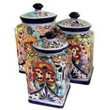 talavera kitchen canisters collection talavera kitchen canister inside stylish as well as interesting colorful kitchen canisters