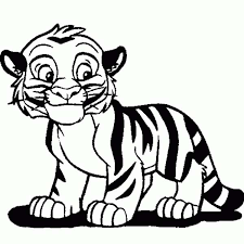 Small Picture Cute Tiger Cub in Cartoon Coloring Page Download Print Online