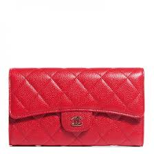 CHANEL Caviar Quilted Large Flap Wallet Red 108855 &  Adamdwight.com