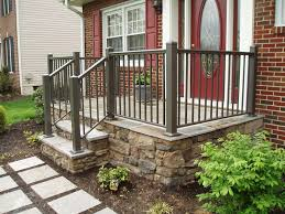 House Railings Dark Green Front Porch Railing In A Beautiful Red Brick House With