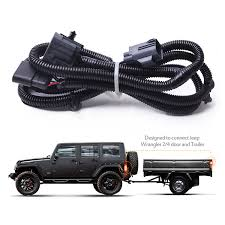 mictuning 65 2007 2017 jeep wrangler jk 4 way trailer tow hitch rh com jeep grand cherokee tow bar wiring harness jeep jk tow bar wiring harness