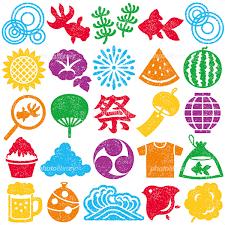 日本の夏 夏祭り スタンプ はんこ カラフル イラスト素材 5613922