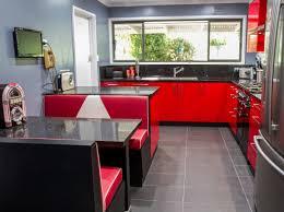Retro Kitchen Furniture Red Retro Kitchen Black Benchtops Booth Seating Www