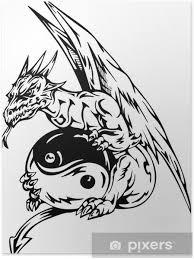 Plakát Dračí Tetování S Jin Jang Registrovat