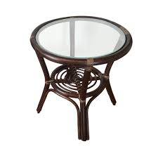 Small Round Rattan Table Round Small Coffee Table Diana 19 Color Dark Brown With Glass