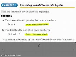 translating sentences into algebraic equations chapter 1 5 algebra 1