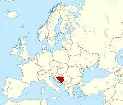 Avrupa dünya haritası (Güney Avrupa)dünya haritasında Bosna - Bosna-Hersek -