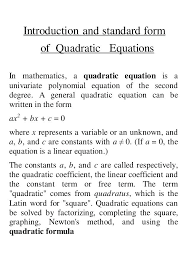 what is a quadratic equation math arithmetic 6 introduction and standard form of quadratic equations in
