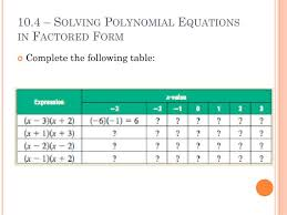 10 4 solving polynomial equations in factored form