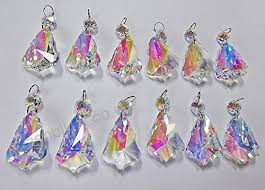 7 designs of 12 aurora borealis ab iridescent prisms chandelier drops droplets cut glass crystals beads