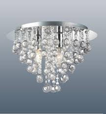 round chrome ceiling flush fitting crystal acrylic droplet